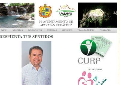 Imagen del Sitio Web del municipio de Apazapan, Veracruz con soporte de JuCri-WebDesign Mexico