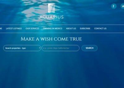 Imagen del Portal Web de Aquarius Realty group ubicado en Loreto diseñada por JuCri - WebDesign Mexico